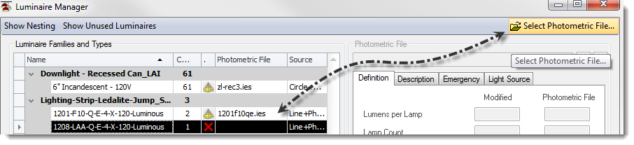 "Select the family then click the ""Select Photometric File"" button."