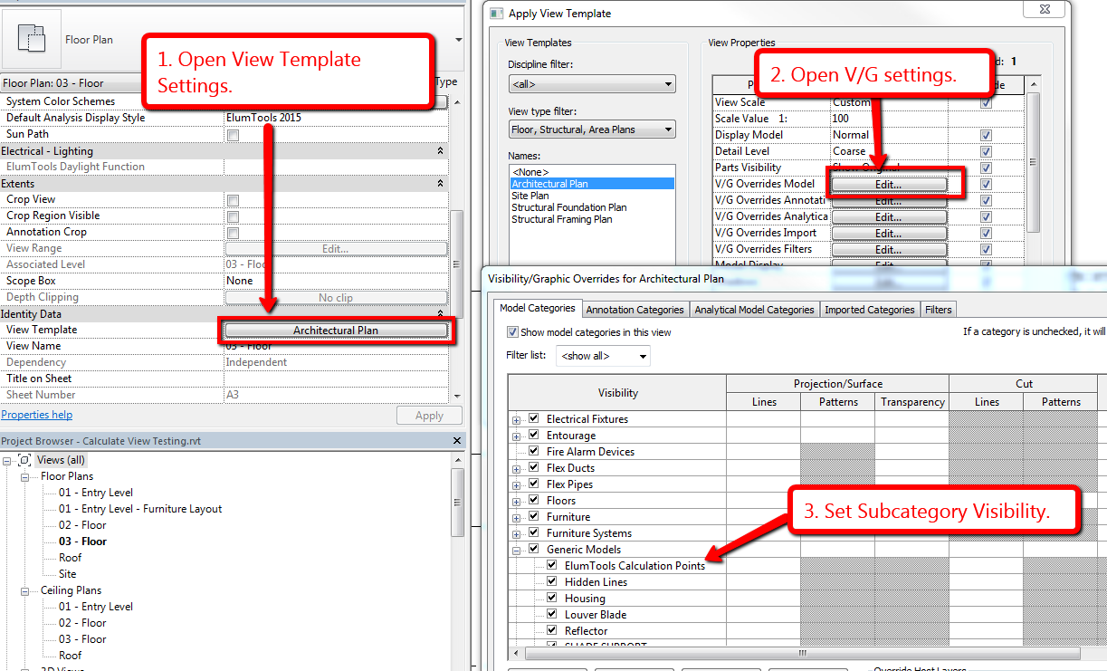 Calculation Point Family Management Lighting in Revit using ElumTools